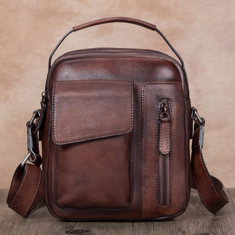 M bag Messenger bag Bag Men singles first layer of leather bag leather chest,brown