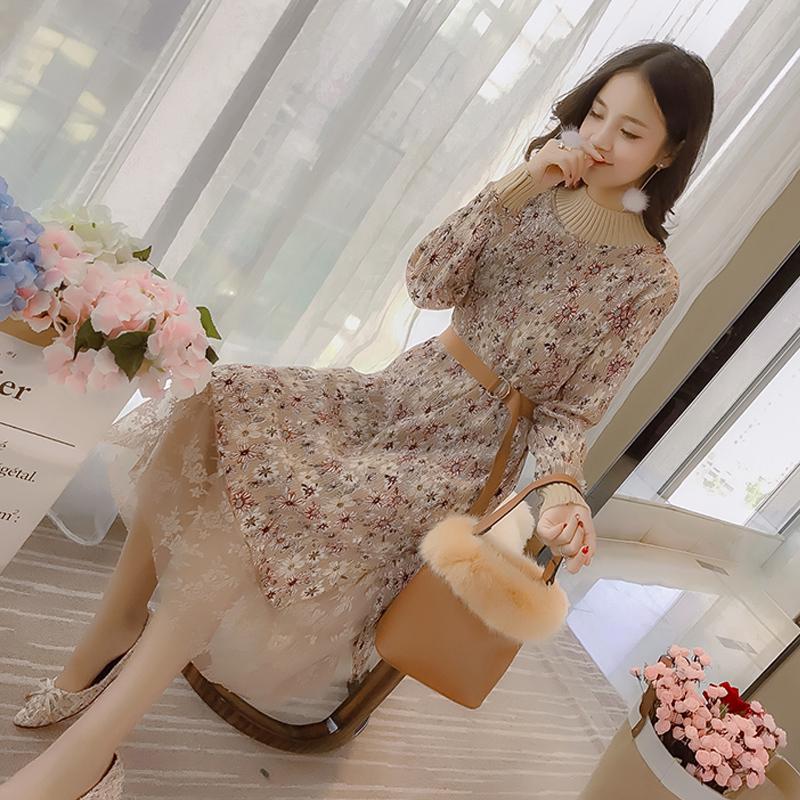 Осень и зима платье женщина 2018 весна облегающий, южнокорейская версия цветочный шифон кружева с длинным маленький провод ветер поездка минимума юбка