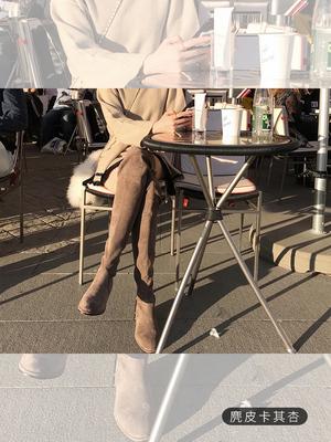 张大奕 过膝弹力布长靴秋冬新款舒适高筒套筒圆头时装靴女