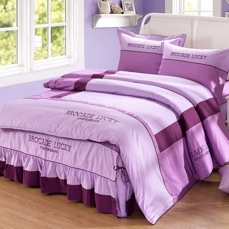 床单被套床上用品四件套全棉纯棉欧式1.8m床结婚庆床罩床裙款简约