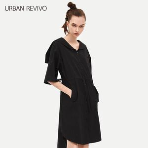 UR2018 Mùa Hè Mới Thanh Niên Phụ Nữ Tinh Khiết Màu Đơn Giản Ràng Buộc Eo Eo X Dress YV12S7ET2000