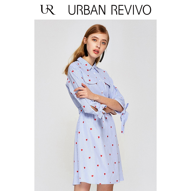 UR2018 mùa xuân và mùa hè mới thanh niên của phụ nữ eo sọc in bông X-hình ăn mặc YU08S7EN2002