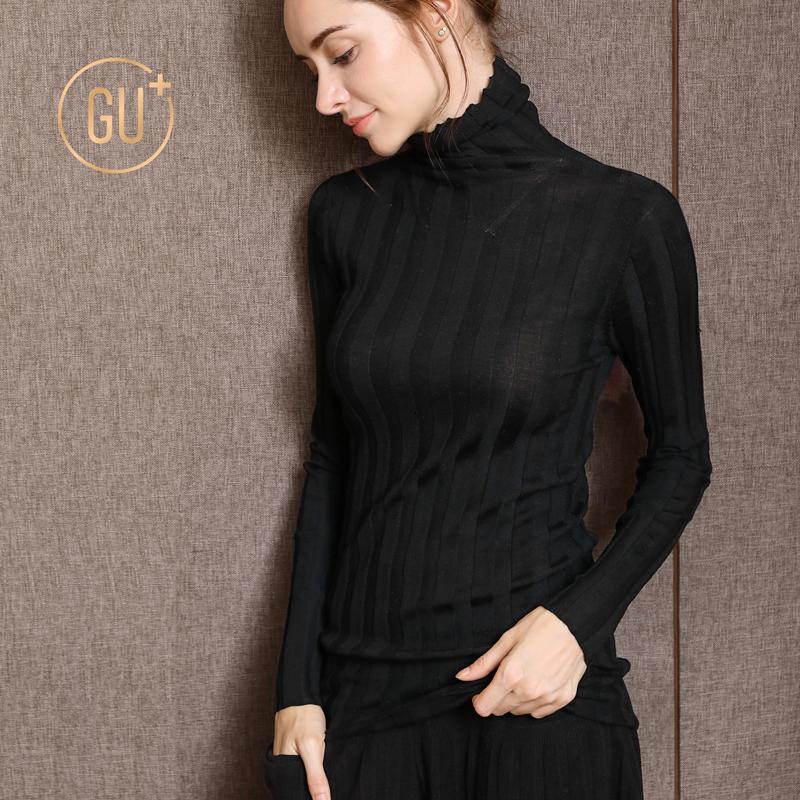 女装纯色衫女秋冬打底套头修身长袖薄款羊毛高领毛衣冬季针织衫