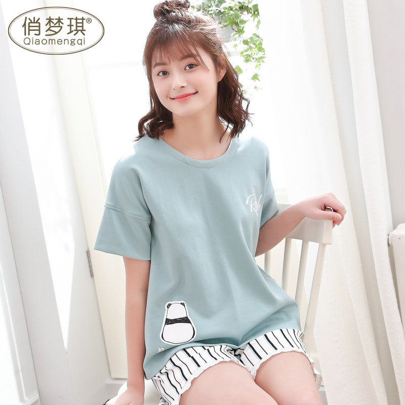 d808430e85b6 Pajamas female summer suit cotton short-sleeved cute Korean fresh students  loose large size summer home service two-piece suit