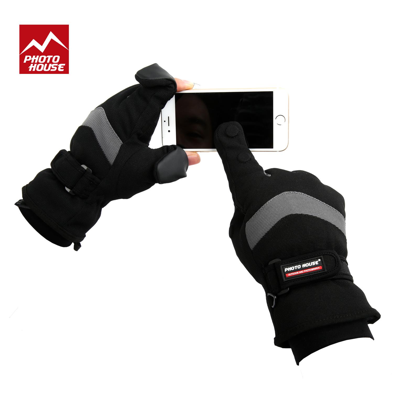 Предохраняющий от холода чехол для фотокамеры Маленький пингвин зимний открытый теплый анти-холодная роса-палец сенсорный экран Велоспорт SLR камеры фотографии перчаток для мужчин и женщин раздел