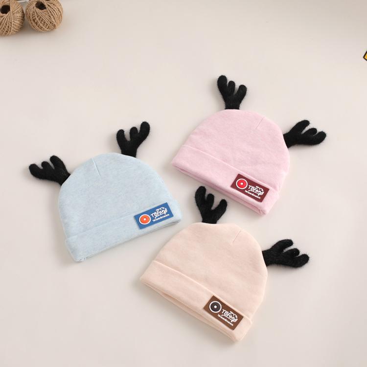 新生儿帽子秋冬款0-3个月初生2婴幼儿胎帽纯棉加厚鹿角可爱婴儿帽