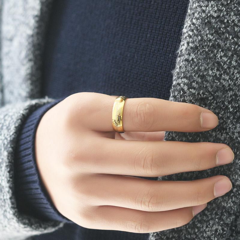 泰爱你 魔戒指环王戒指男宽钛钢指环潮人个性霸气配饰免费刻字