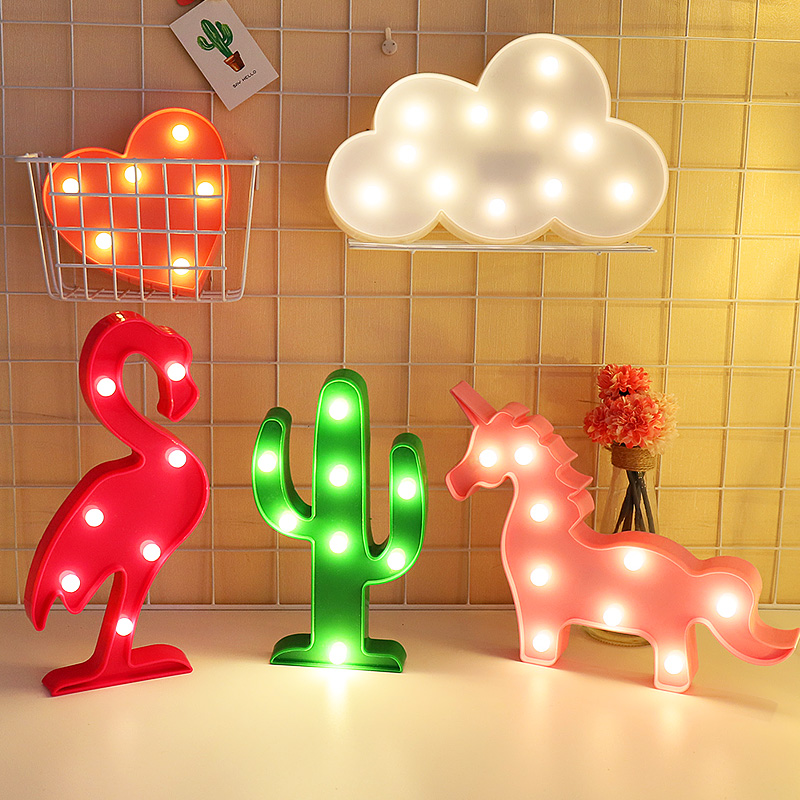 Creative ins pendulum LED lights modeling lights Flamingo decoration room layout background photo props string lights