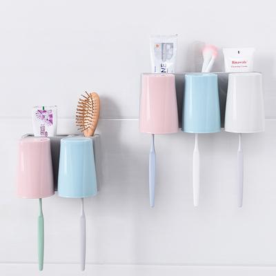 吸壁式牙刷架洗漱套装壁挂吸盘三口漱口杯牙膏牙具盒置物架刷牙杯