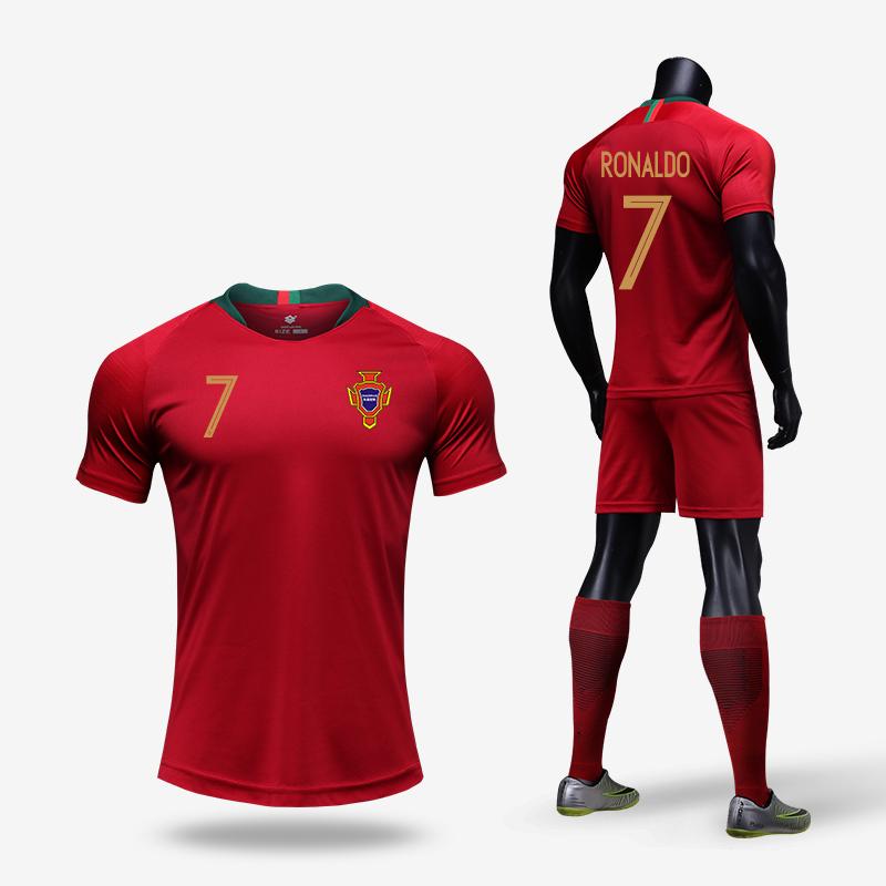 hot sale online cfc9f 08e5b Portugal No. 7 Cristiano Ronaldo jersey 2018 National Team children's  football suits suits men's football training uniforms