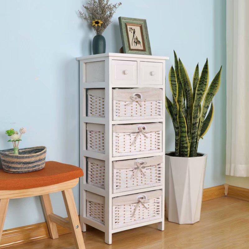 简易实木床头柜40cm宽简约卧室藤编收纳柜田园储物小柜子多功能