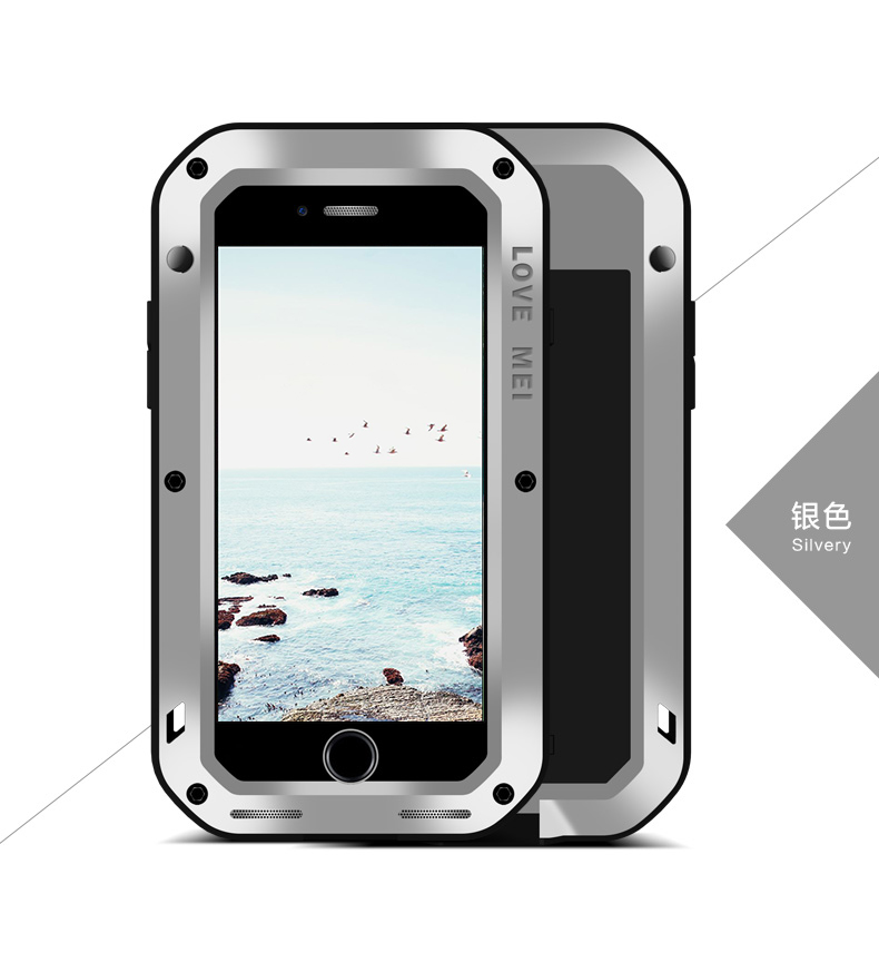 LOVE MEI Powerful Water Resistant Shockproof Dust/Dirt/Snow Proof Aluminum Metal Outdoor Gorilla Glass Heavy Duty Case Cover for Apple iPhone 8 Plus & iPhone 8