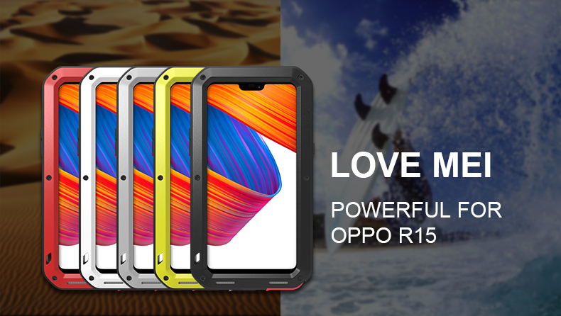 LOVE MEI Powerful Water Resistant Shockproof Dust/Dirt/Snow Proof Aluminum Metal Outdoor Gorilla Glass Heavy Duty Case Cover for OPPO R15 & OPPO R15 Dream Mirror Edition