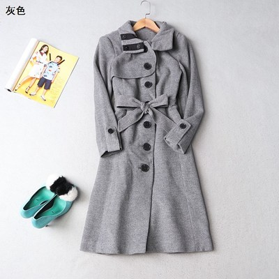 108830 Women's 2017 winter lapel single breasted long-sleeved solid color wool coat
