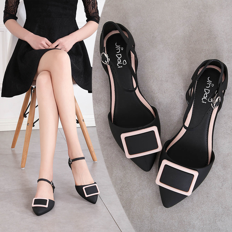 f246bf745a7980 2018 New pointed sandals female summer flat bottom buckle jelly shoes Rome  beach shoes holiday shoes · Zoom · lightbox moreview · lightbox moreview ...