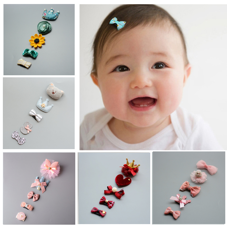 Baby hair clip sweat clip female baby hair card safety clip less Korean version of the princess baby tiara set