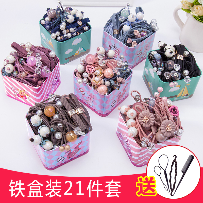 Children's hair trim head rope girl Korean version of the net red cute tie hair leather rib girl insson tied tiara hair ring hair rope