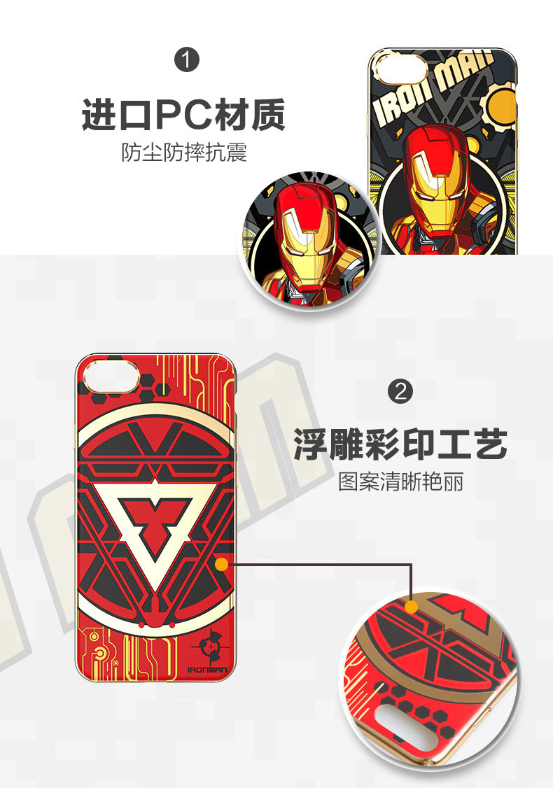 MEKI Marvel Avengers Electroplating 3D Color Carving Hard PC Case Cover for Apple iPhone 7 Plus & iPhone 7