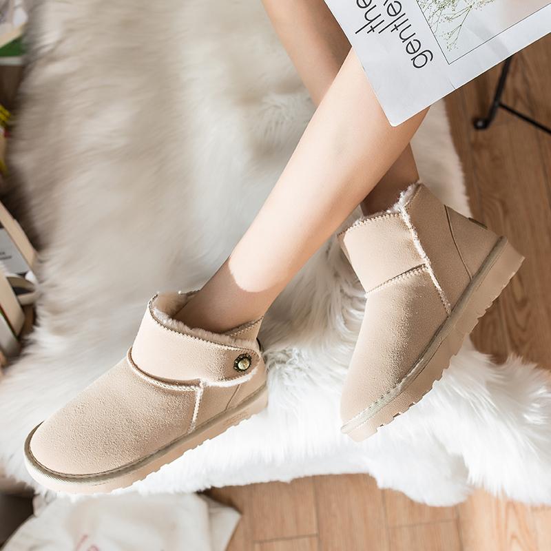 蝶恋朵新款雪地靴女冬季2018韩版短筒保暖加绒短靴子学生冬天女鞋