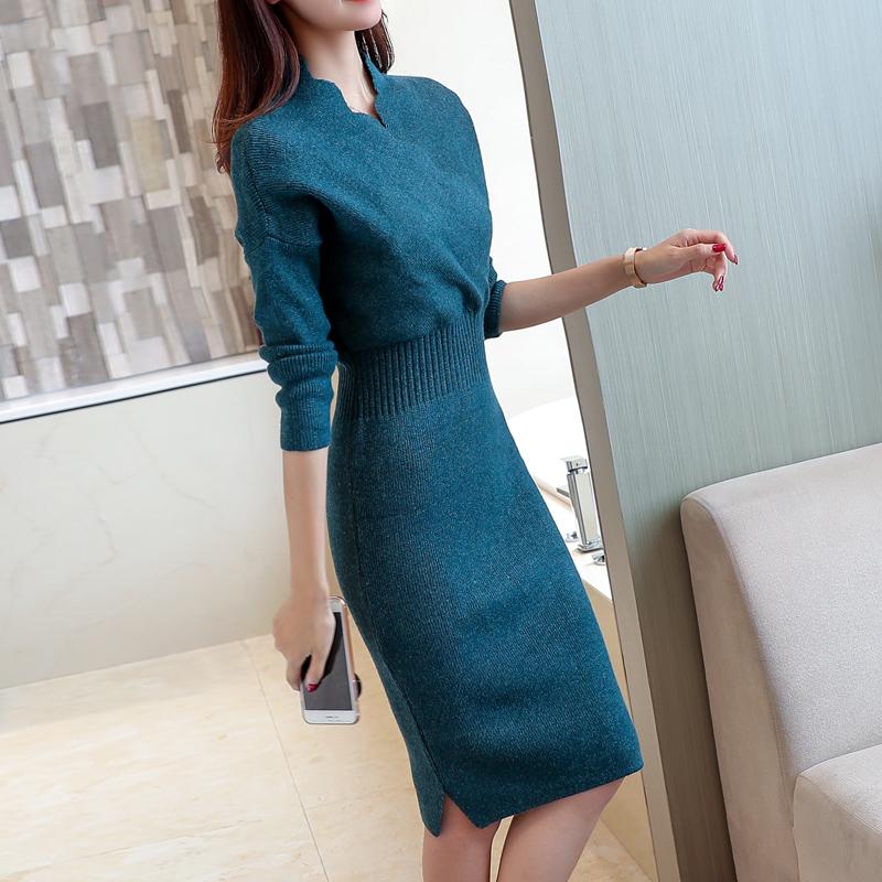 网红秋冬季新款韩版女装中长款套头毛衣针织连衣裙修身打底衫过膝