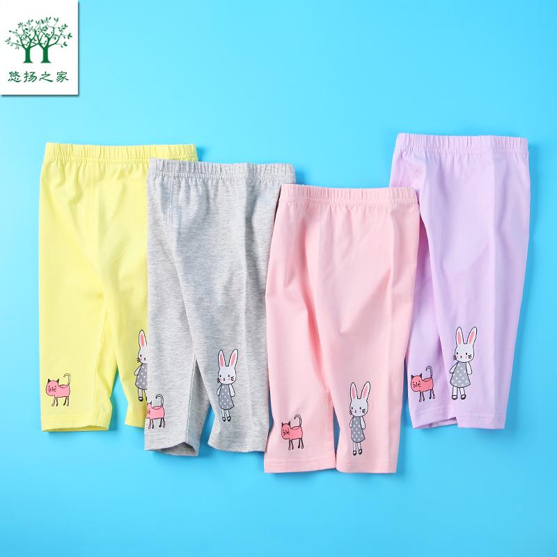 2019新款女宝宝七分裤一二3三4两5五6岁女童裤子婴儿夏装打底裤薄