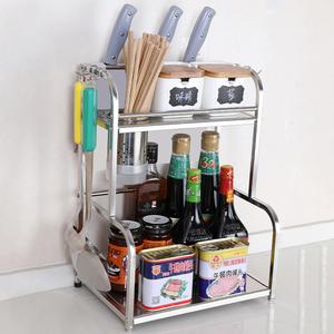 厨房收纳置物架调味料用品家用大全神器储物转角夹缝不锈钢置物架