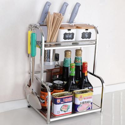 厨房收纳置物架用品家用大全神器橱柜转角夹缝不锈钢调味料置物架