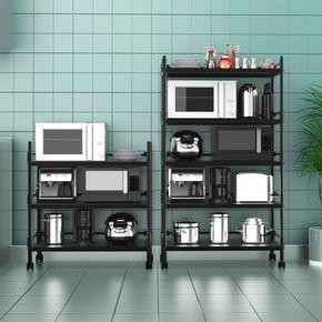 落地式厨房置物架收纳架橱柜烤箱带轮