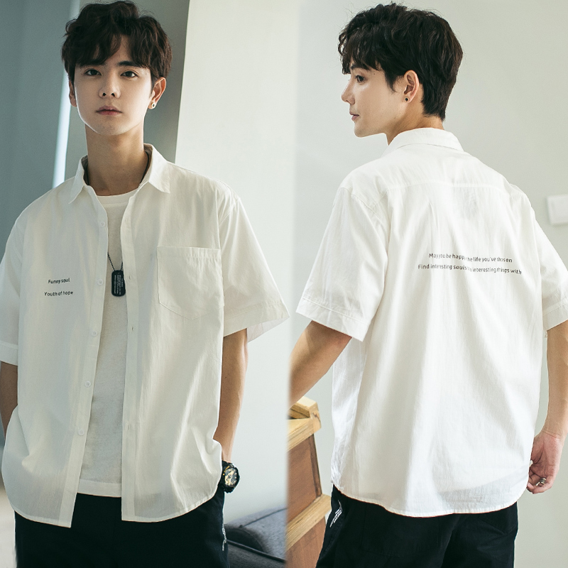 Japanese short-sleeved shirt men's trend print Korean version of loose inch clothing students solid color in2019