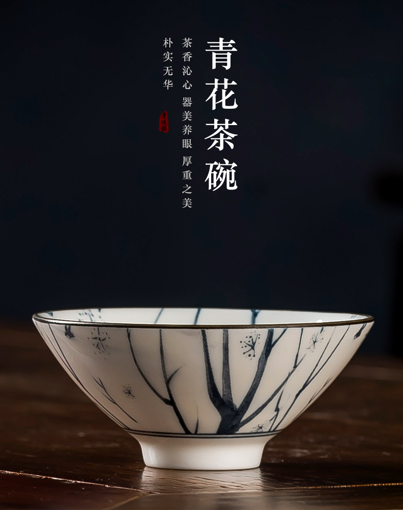 Kung fu masters cup hat to a cup of tea cups light blue and white porcelain is jingdezhen ceramic household small sample tea cup single CPU