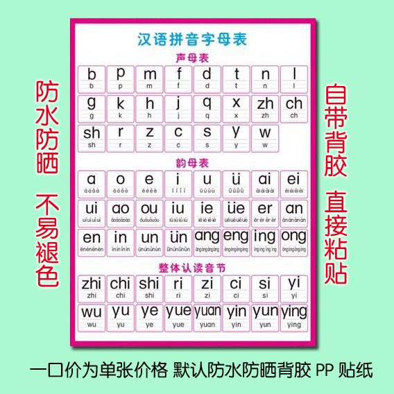 Usd 6 52 Primary School Pinyin Sound Mother Rhyme Mother Spelling Full Table Children S Chinese Wall Sticker 2 8 Years Old Phonetic Alphabet Wholesale From China Online Shopping Buy Asian Products Online