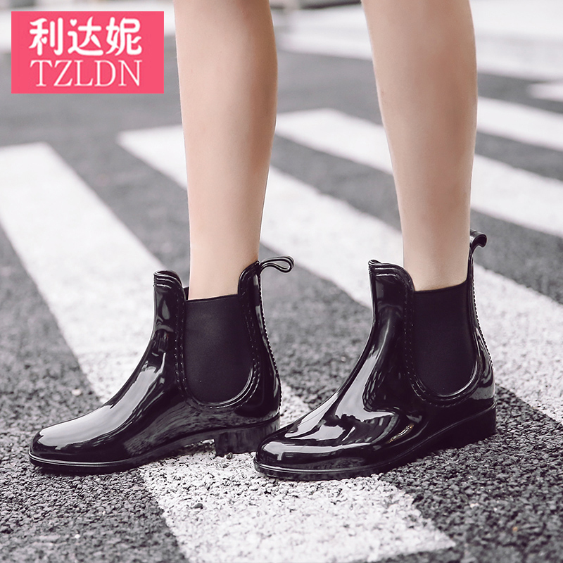 Rain boots ladies summer water shoes sets of shoes rain boots women low to help fashion non-slip waterproof boots rubber shoes Chelsea boots spring and summer