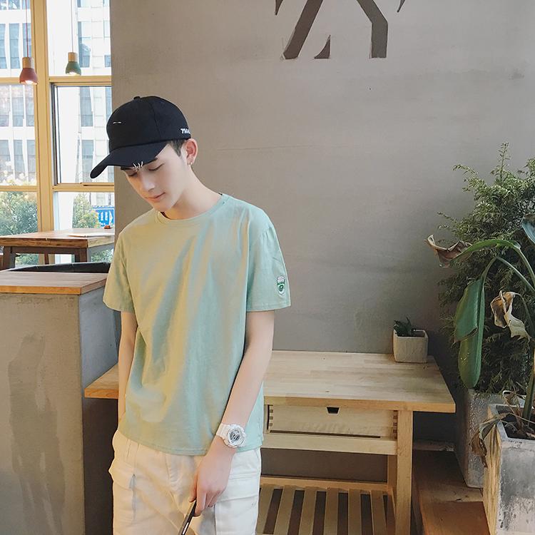 Học sinh trung học ánh sáng màu áo dành cho người lớn nam giá rẻ của quần áo nam phong cách Hàn Quốc Taipa người đàn ông trẻ tuổi ngắn tay t-shirt áo phông nam tay ngắn cổ trụ