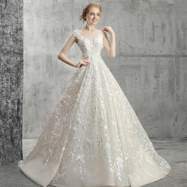 01e2fbc3d4bfd Bridal light wedding dress 2019 new word shoulder slimming out the door  champagne champagne wedding dress luxury travel tail
