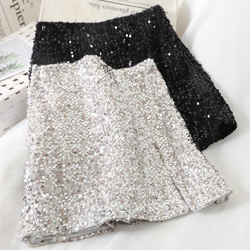 10309 новая зимняя небольшой ароматный шерстяные ткани тяжелый блестки блеск bling юбка перейти следовать упаковать низ юбка 608865822551