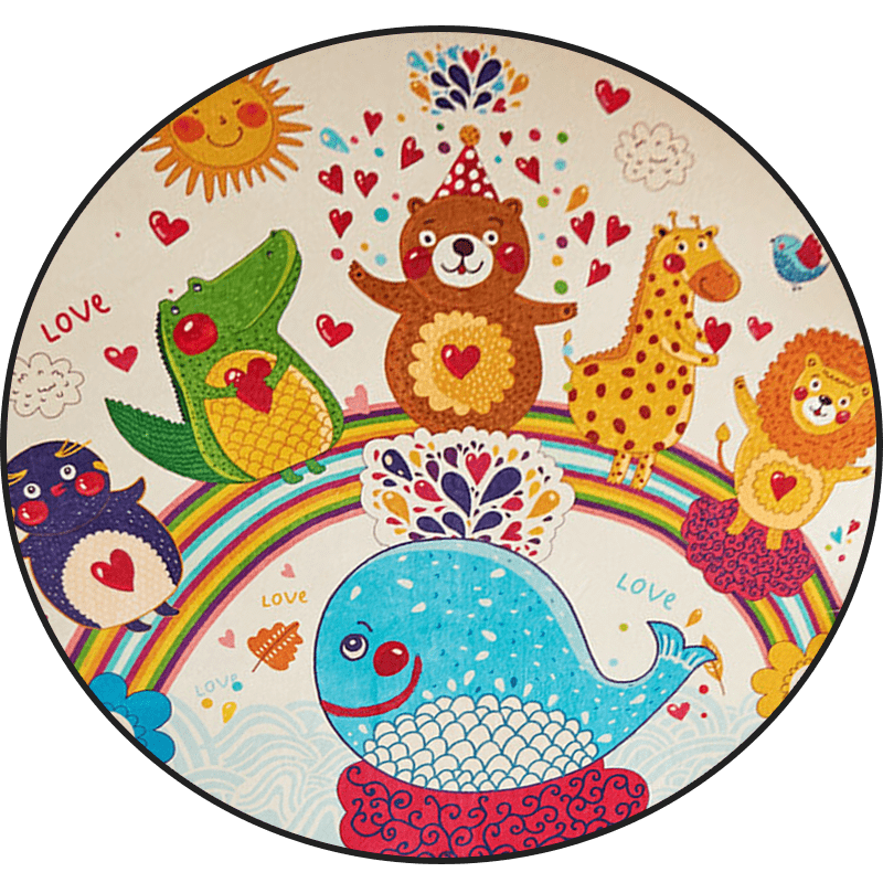 Cartoon round carpet bedroom children's room bedside round blanket Nordic INS bed front blanket basket computer chair floor mat