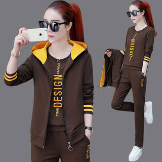 Spring and autumn sportswear women's suit 2021 new casual fashion western style Korean sweater running women's three-piece suit