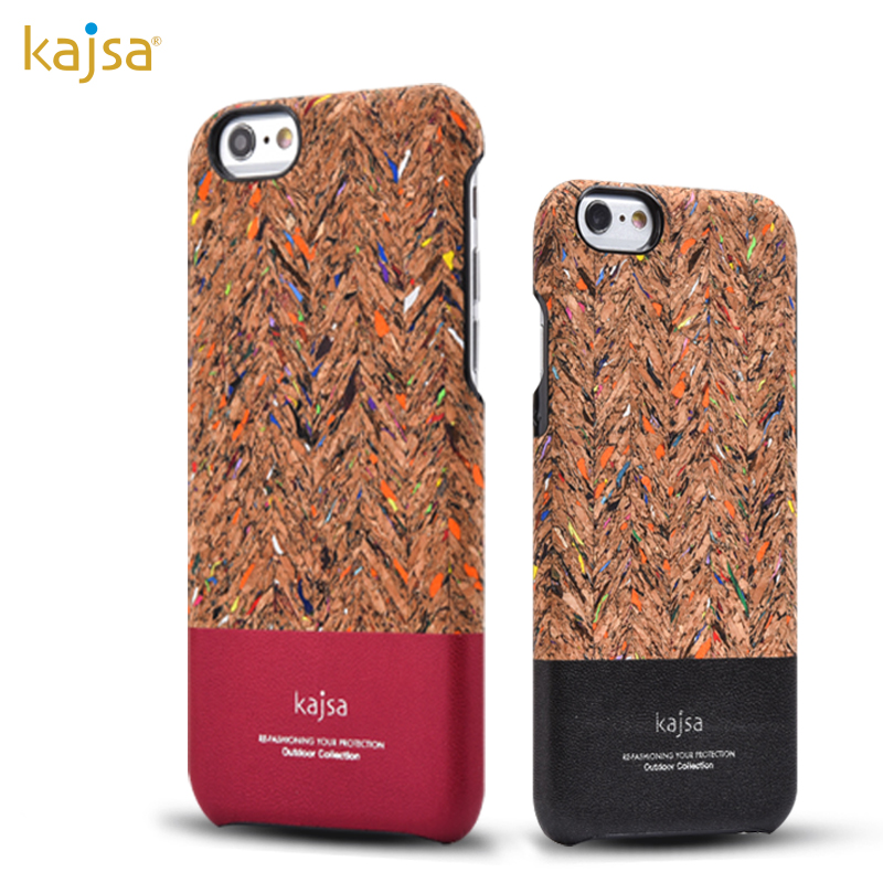 kajsa Outdoor Collection Corkwood Carnival Wood Pattern PU Leather Hard Case Cover for Apple iPhone 7 Plus & iPhone 7