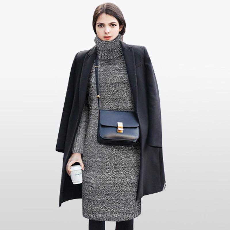 2017秋冬季新款韩版时尚潮修身打底高领毛衣女套头加厚宽松中长款