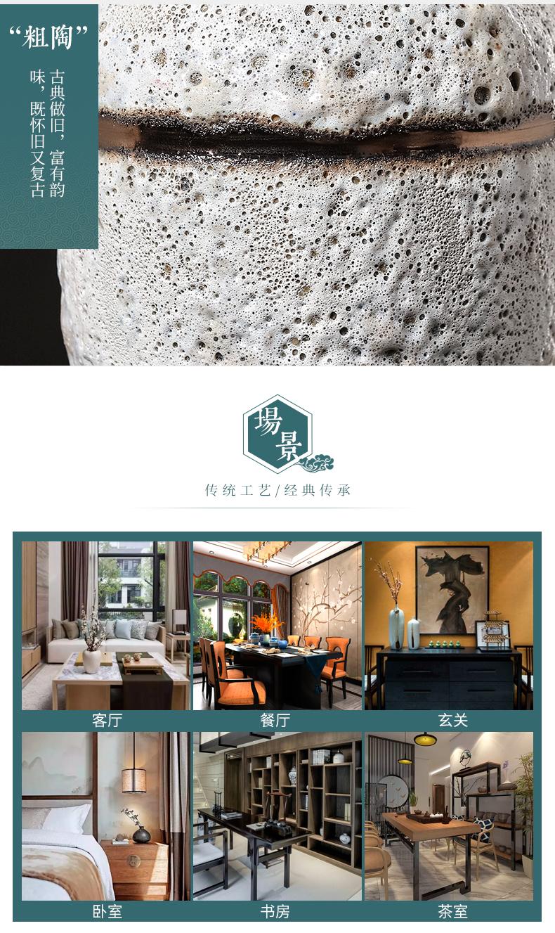 Jingdezhen ceramics creative home furnishing articles sitting room office decorations retro nostalgia coarse pottery dried flower vase
