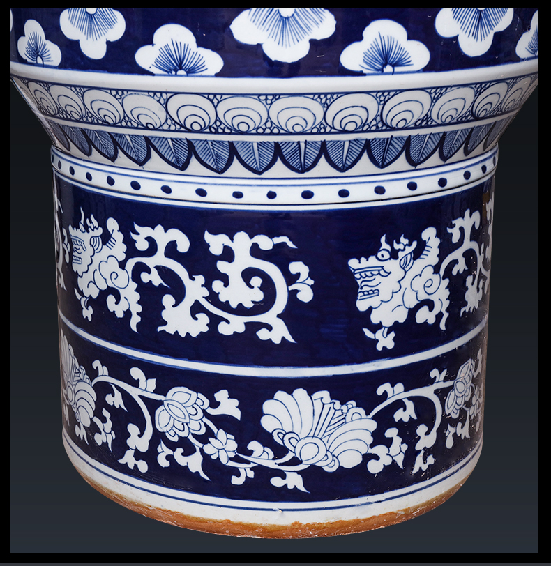 Jingdezhen ceramics hand - made guest - the greeting pine of large blue and white porcelain vase hotel lobby large adornment furnishing articles