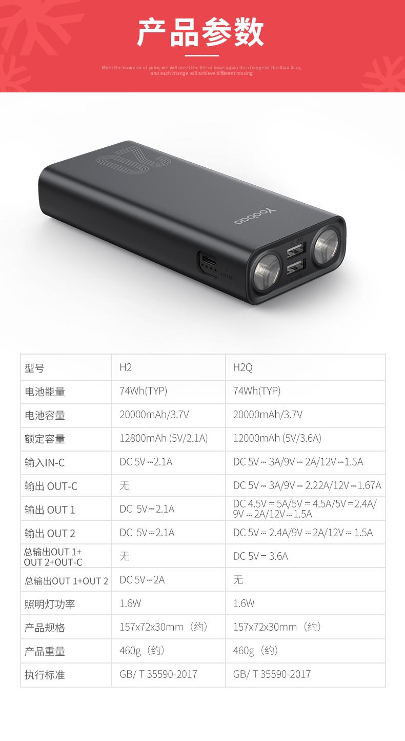 羽博 20000毫安充电宝 带强光手电 图7