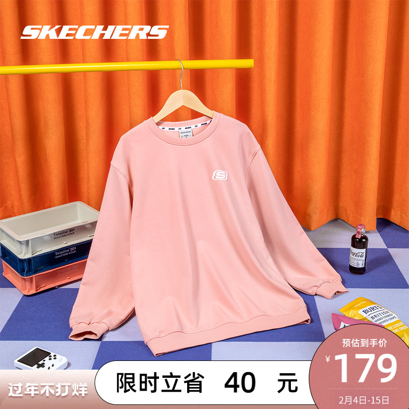Skechers SKECHERS winter new women's wear off-the-shoulder tide brand round-necked hoodie sports loose casual thick cotton