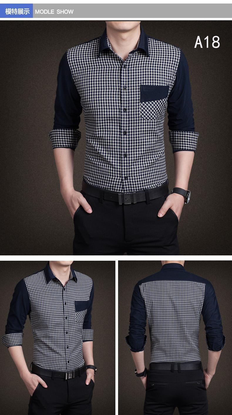 YMV spring new men's shirt long-sleeved teen thin Korean shirt slim casual stitching fashion shirt 52 Online shopping Bangladesh
