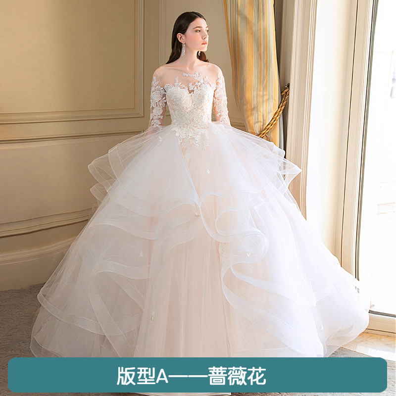 Light Wedding Dresses For Abroad: Wedding Dress 2019 New Bride Word Shoulders Europe And The