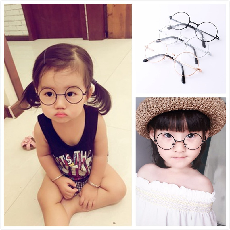 Men and women children glasses frame cute no lens boys and girls baby round cute frame child tide baby