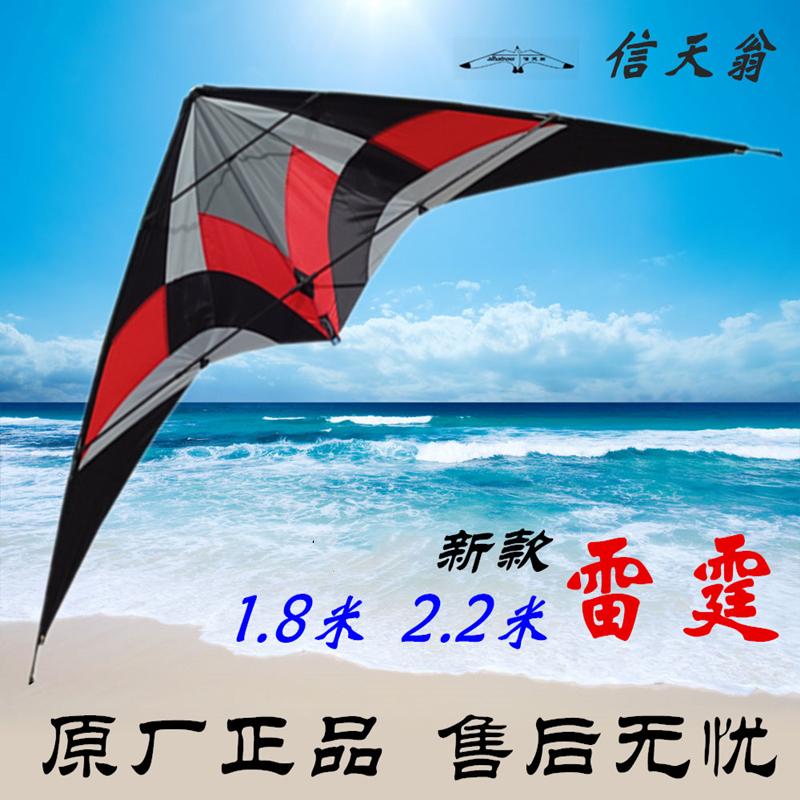 信天翁新款雷霆双线运动微风特技三角风筝1.8/2.2米声音堪比风暴