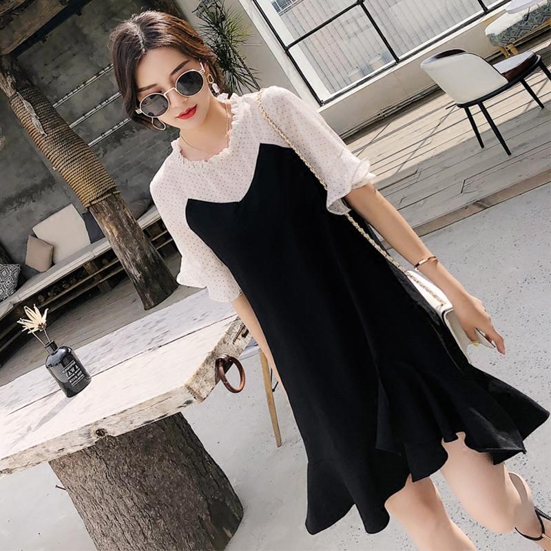 2019夏季新款波点雪纺拼接鱼尾连衣裙女洋气显瘦减龄赫本小黑裙