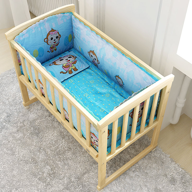 Baby bed cotton five-piece set removable and washable with cotton core cartoon pattern crib