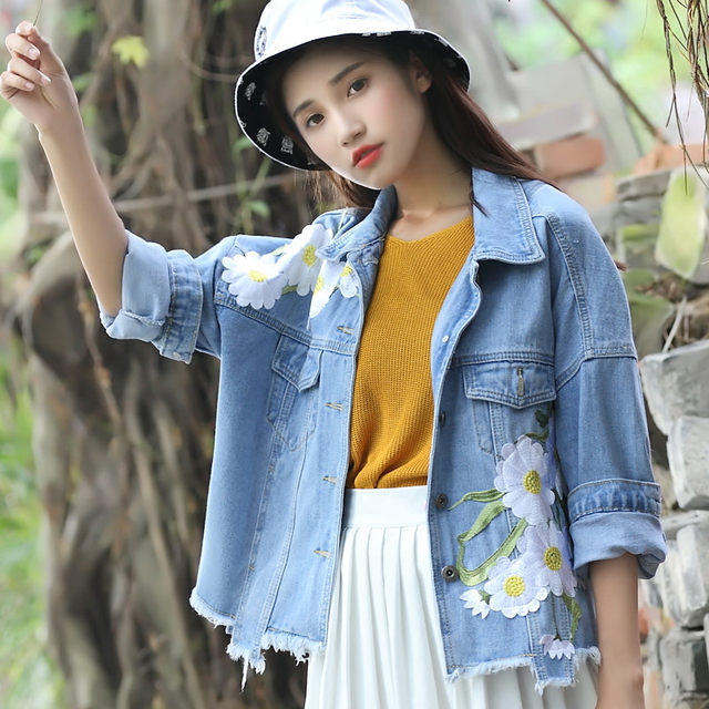 Spring and autumn new embroidered denim jacket female loose short section was thin woolen Korean BF student jacket top